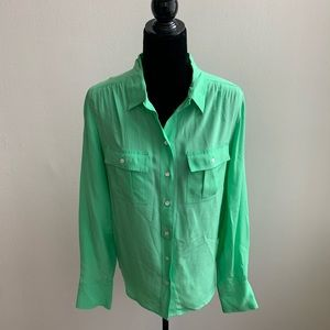 J. Crew Bright Green Button down Blouse Size 6